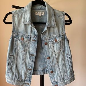 Madewell cropped jean jacket vest